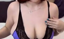 Busty Red Haired MILF Teasing Her Tits
