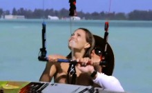 Busty badass babes enjoyed kite surfing while all naked