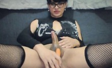 Shemale Fucks her ass with a Carrot