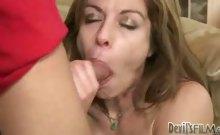 Hot MILF Performing Deep Throat On Her Step-Son's Huge Dick!