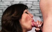 Nasty sex kitten gets cumshot on her face gulping all the ji