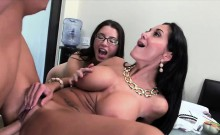Horny brunette Ava in a hot threesome