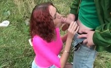 Amateur chick gets mouth fucked outside