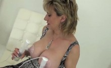 Cheating british milf lady sonia flashes her massive breasts