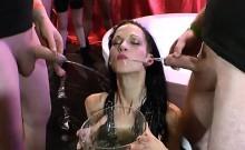 Euro Slut Brunette Golden Shower Sucking Cock Riding