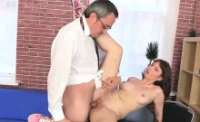 Elegant schoolgirl is teased and plowed by her senior tutor