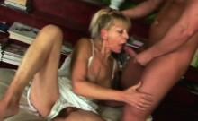 Blonde granny blowjob big cock riding reverse cowgirl