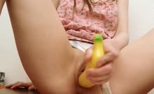 Banana in her gentle pussy