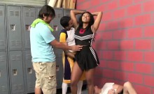 Busty cheerleader pleasures numerous fat shafts