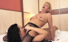 Teen lezzie orally satisfied by granny