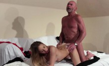 Old Young Blonde blowjob and hardcore fuck from grandpa