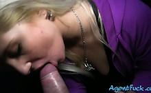 Blonde amateur Sabina pounded in public