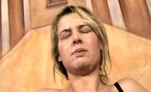 Blonde woman used as fuck hole