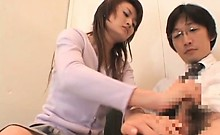 Jap redhead giving handjob and BJ for the first time