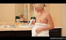 Little boobed teen masturbating pussy with her teeth brush