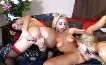Nikki Sammie and Renee licking sucking and dildo fucking