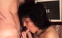 Hot mature slut in black lingerie rides cock