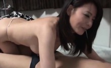 Busty hot Japanese MILF sucking large dick and fucking hard