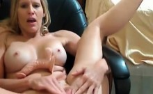 Busty Blonde Playing with her Dildo