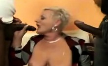 Two huge black dongs please a naughty blonde grandmother