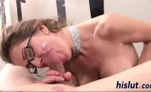 Saucy Trixie sucks on a throbbing shaft