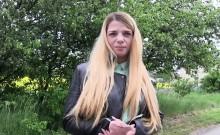 Czech blonde flashing nice tits outdoor