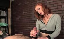 Dom ginger masseuse giving roped wankjob
