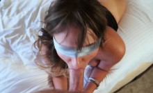 Sexy babe Charlotte Cross fucks her daddy's cock