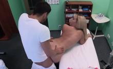 Busty blonde Russian babe fucks doctor