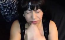 Darkhaired Girl Sucking Penis of Her Siblings Buddy