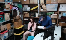 Redhead teen shoplifter caught and fucked by security