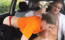 Big titted teen fucked hard in the car