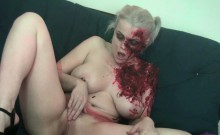 Sexy zombie pleases the gash between her legs!