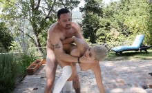 Aaliyah Hadid works out and pounded hard near the pool