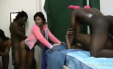 Dorm room college orgy with afro sluts cunt banged hardcore