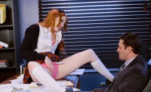 Redhead schoolgirl pounded by her Professor in his office