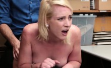 Cute blonde shoplifter needs to fuck for her freedom
