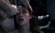 Restrained teen spoon fucked and facialized