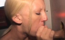 Blonde Amateur Dirtbag Taking Cumshot Through A Glory Hole