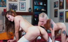 Lesbian wives enjoy ass insertions amazing