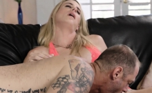 Blonde shemale anal fucked by a boyfriends fat penis