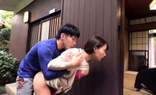 Adorable Japanese babe double blowjob and hot sex