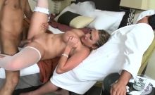 Cunning babe with big pantoons gets her shaved pussy banged