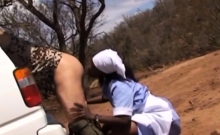 Ebony maid cleaning the bosses ass with tongue