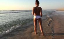 Outdoor masturbation on the beach