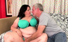 Horny BBW gets her pussy rubbed tits sucked and kissed on