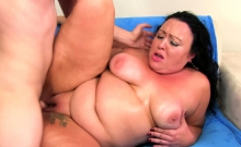 Horny Bbw Gets Kissed And Tits Sucked By A Skinny Guy She