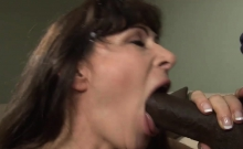 Black Cock Stretches A Hairy Pussy