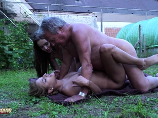 Horny thieves fuck old gardener