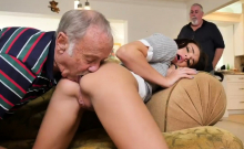 Teen lap fuck Riding the Old Wood!